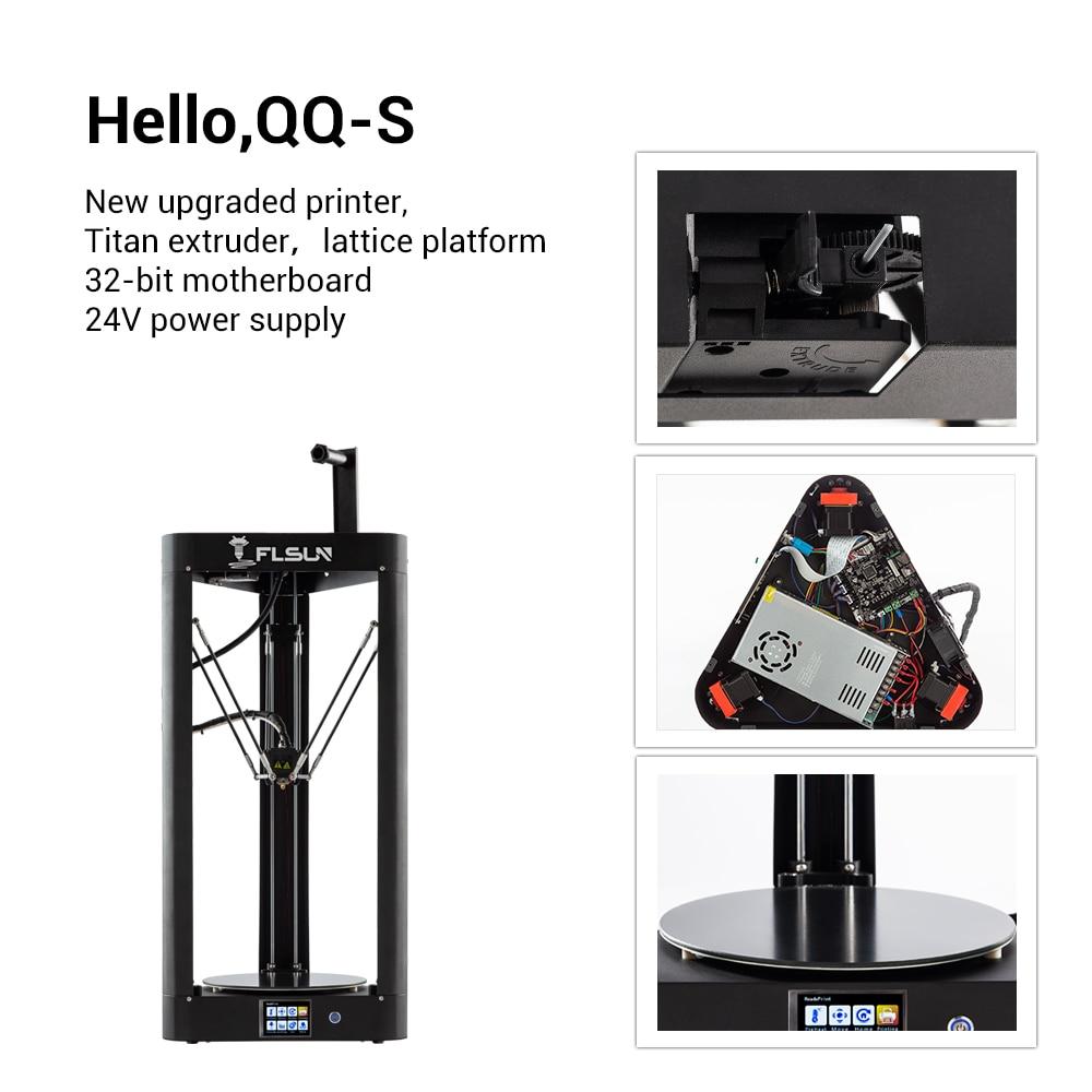 2019 NOUVEAU 3D Imprimante Kossel Flsun QQ-S Auto Nivellement Treillis HeatBed Pré-assemblée Delta Titan écran tactile Wifi 32 bits motherboad - 2