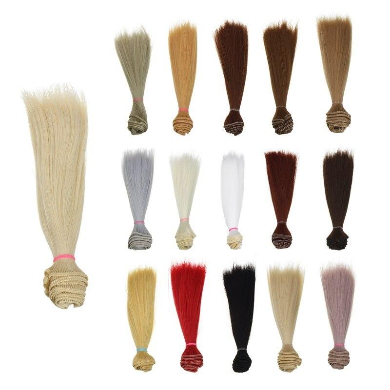 1 шт. волос refires bjd волос 15 см * 100 см черного и золотого цвета коричневый хаки белый серый цвет короткий прямой парик волосы для BJD Diy аксессуары