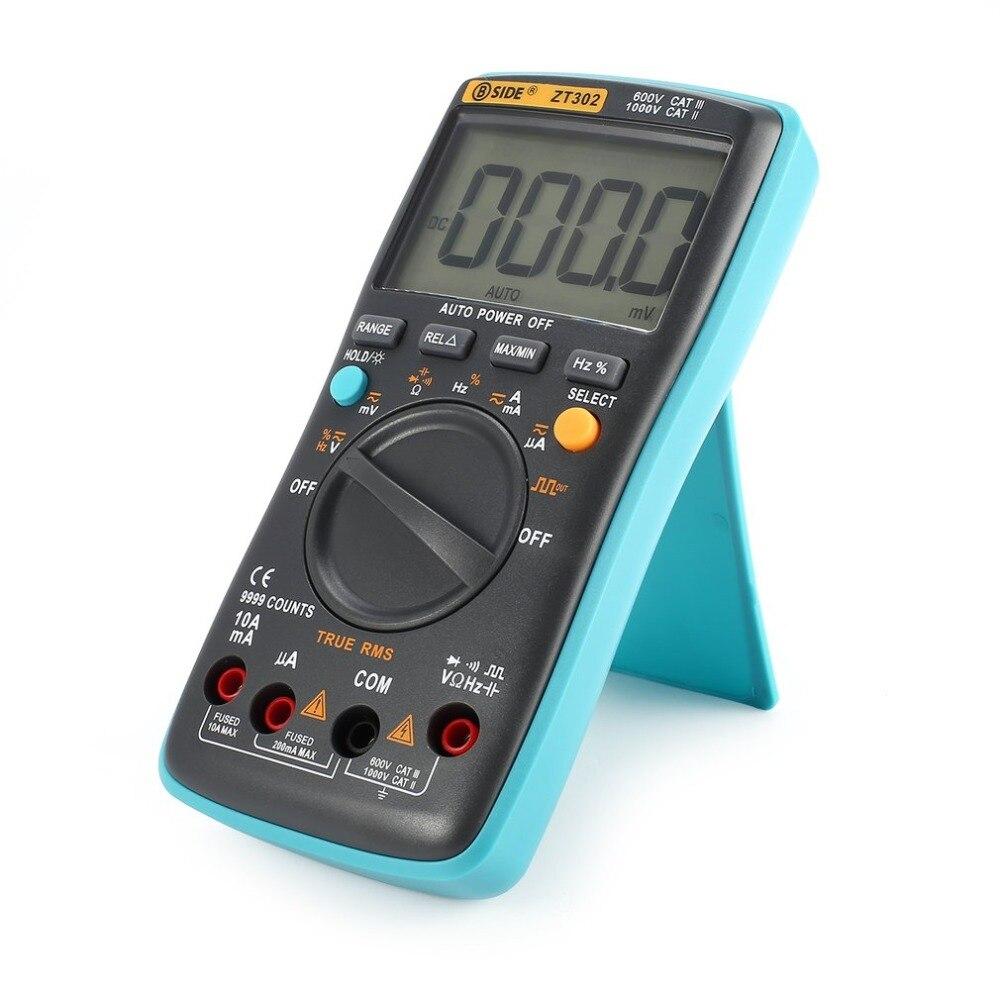 BSIDE ZT302 Multimetro Digitale 9999 Conta Vero RMS AC/DC Volt Amp Ohm Capacità Frequenza Duty Cycle Diodo di Continuità tester