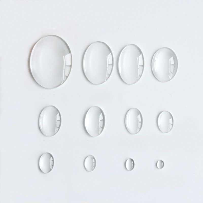 10 Kinds Of Size Glass Oval Cabochon Transparent Clear Cameo Cover Cabs Glass Spacers Gem Beads For Jewelry Making 40 PCS