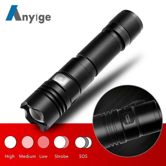 ANYIGE Tactical flashlight Torch led XML T6 Lampe Torche Ultra Puissante Taschenlampe Zaklamp Zoom LED Flashlight USB Lanterna