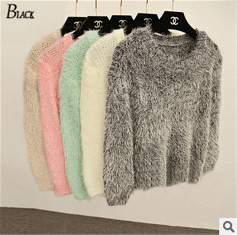Women's Sweaters And Pullovers Knitted Plush Long Sleeve Warm ...