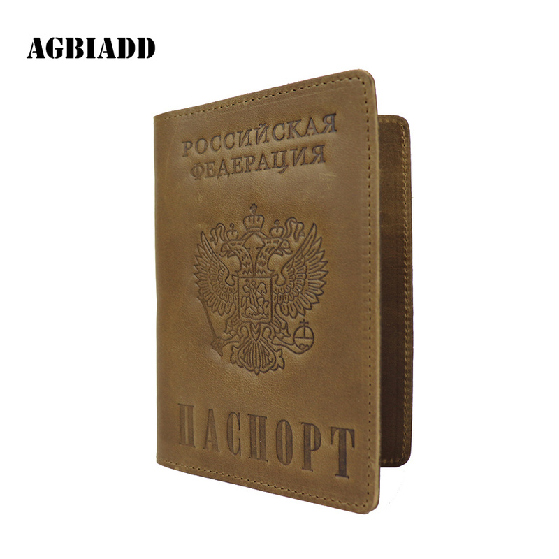 9ab97da76 Russian Federation National Emblem Genuine Leather Passport Cover Retro  Business Card Holder S603-50 Men Credit Card ID Holders