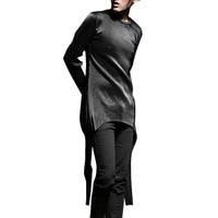 Irrégulière ourlet fois tissu hommes à manches longues t-shirt high street fashion hiphop punk gothique mâle t-shirts chemises stage show costumes