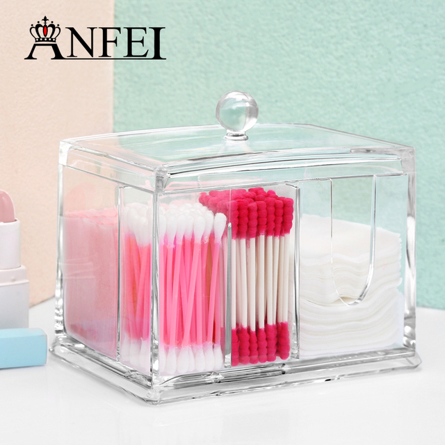 Clear Acrylic Boxes With Cover Cotton Swab Q Tip Storage Holder Cosmetic  Makeup Case Jewelry