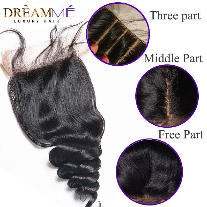 Dreamme 헤어 루즈 웨이브 페루 레미 헤어 실크베이스 - 인간의 머리카락 (검은 색) - 사진 6