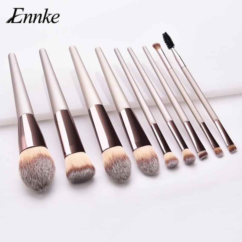 ENNKE champagne gold makeup brushes set large hair torch shape powder blush brush double end eyebrow eye lash make up brushes