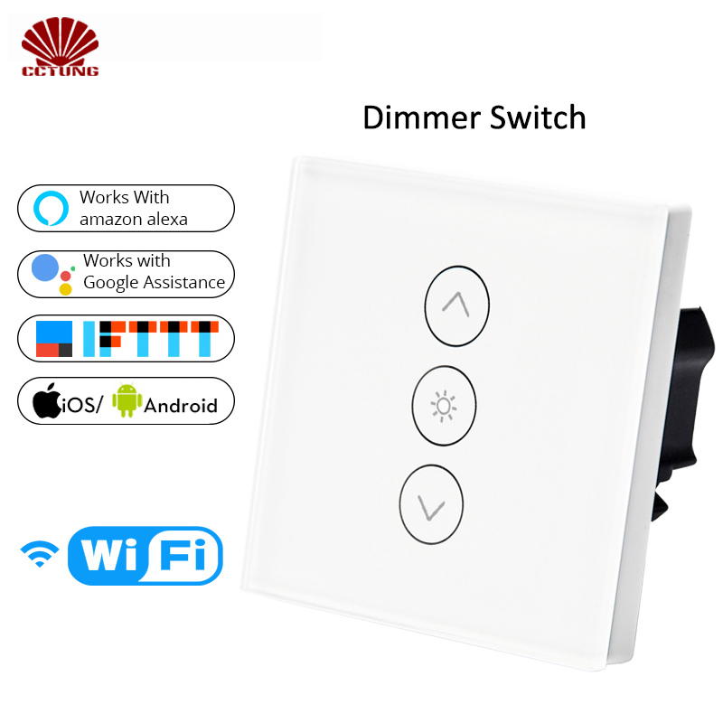 WIFI Smart Wall Touch Light Dimmer Switch AC100-240V10A US EU UK Standard Free APP Voice Control Work With Alexa And Google Home
