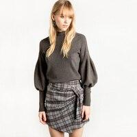 Women Pullovers Turtleneck Knit Shirt Long Lantern Sleeve Sweater Runway Wool Jumpers Pull Long Sleeve Women Tops Winter 70F088