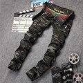 Militar de camuflagem calças jeans magras calças de brim dos homens 2017 marca de moda zipper bolso de carga mens designer jeans moto calça jeans biker p13