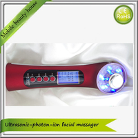 Galvanic Photon Ultrasonic Waves Red Green Blue Led Light Therapy And Microcurrent Face Skin Care Massager