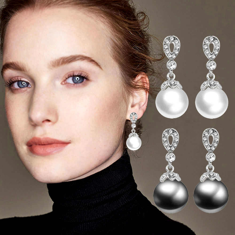 SINLEERY Elegant White/Gray Imitation Pearl Drop Earrings With Rhinestone Wedding Jewelry For Women Gifts Es191 SSH