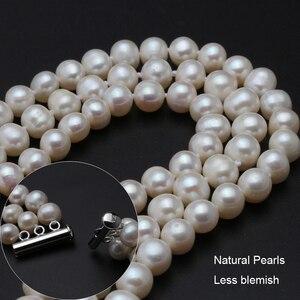 Image 3 - Echte perle halskette silber schmuck, süßwasser perle drei stehen chocker halskette Schmuck braut halskette für Frauen drop verschiffen