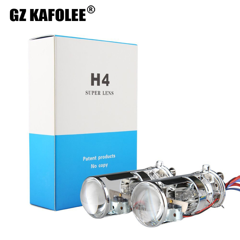 GZ KAFOLEE Car H Xenon H4 6000K 4300k 8000K Mini Projector Lens LHD RHD For HID Headlamp H4 Type Easy To Install 55W 10000LM