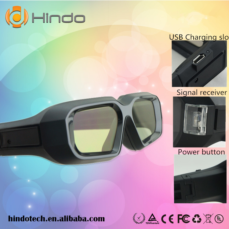 2PCS Active Shutter 3D Glasses Universal Rechargeable RF Bluetooth For Sony Panasonic Sharp Toshiba Samsung Projector