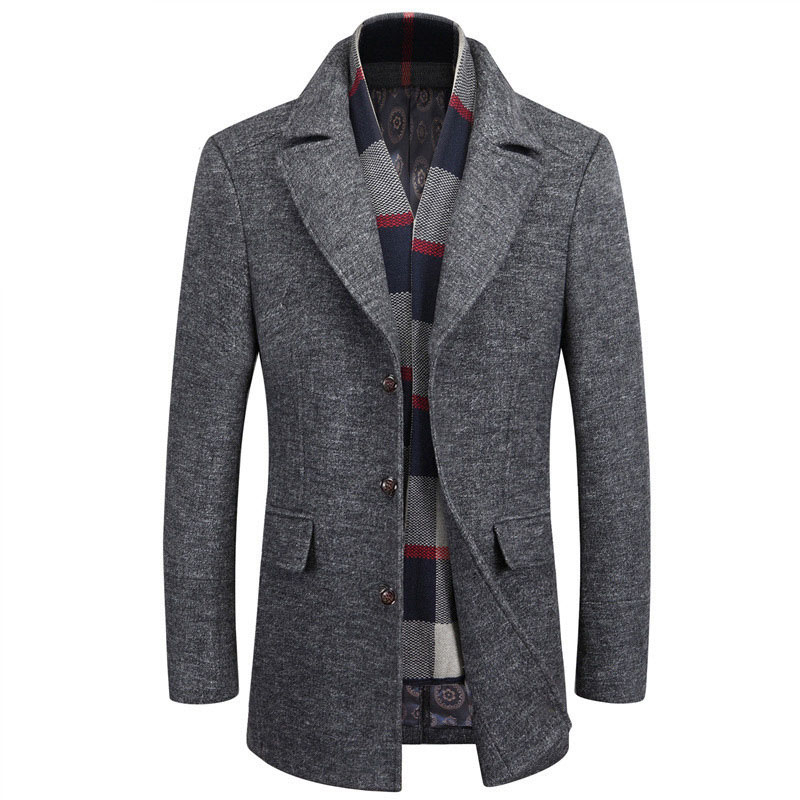 Grey Mens Designer Wool Coats Slim Fit Turn down Collar Man Blends ...