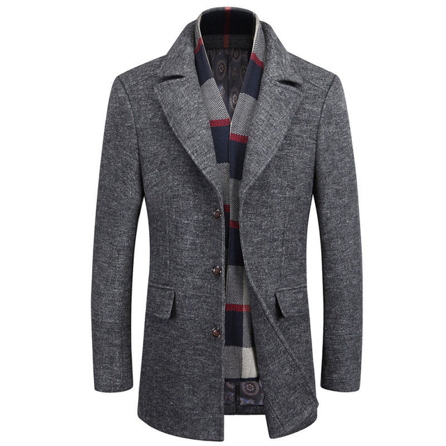 Grey Mens Designer Wool Coats Slim Fit Turn down Collar Man Blends ...