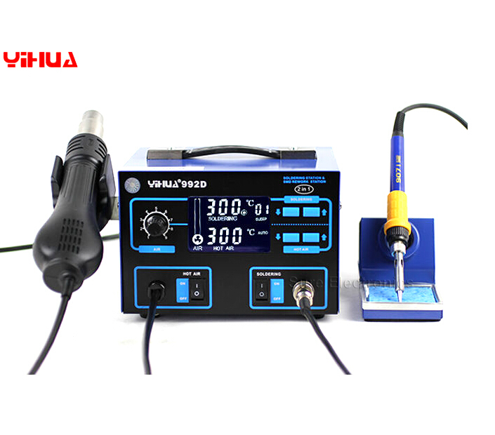 YIHUA 992D Lead Free 2 In 1 SMD Rework Station With Heater Iron,free tax to Russia цены