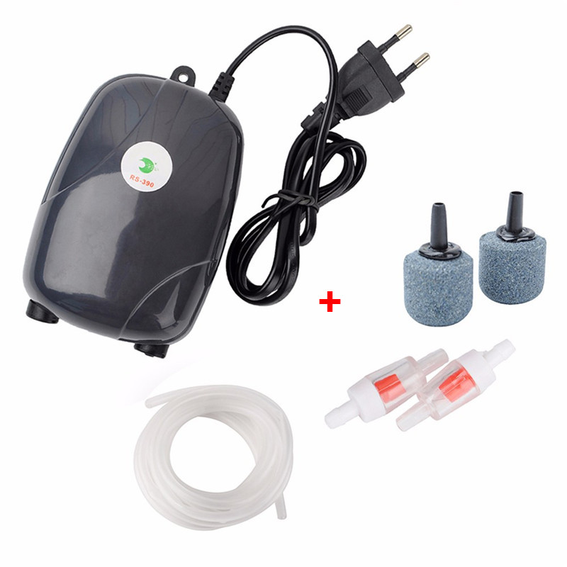 Aquarium Air Pump Fish Tank Mini Compressor Single Double Outlet Oxygen Pumps With Accessories Stone Check Valve Tube 220V 3W 5W