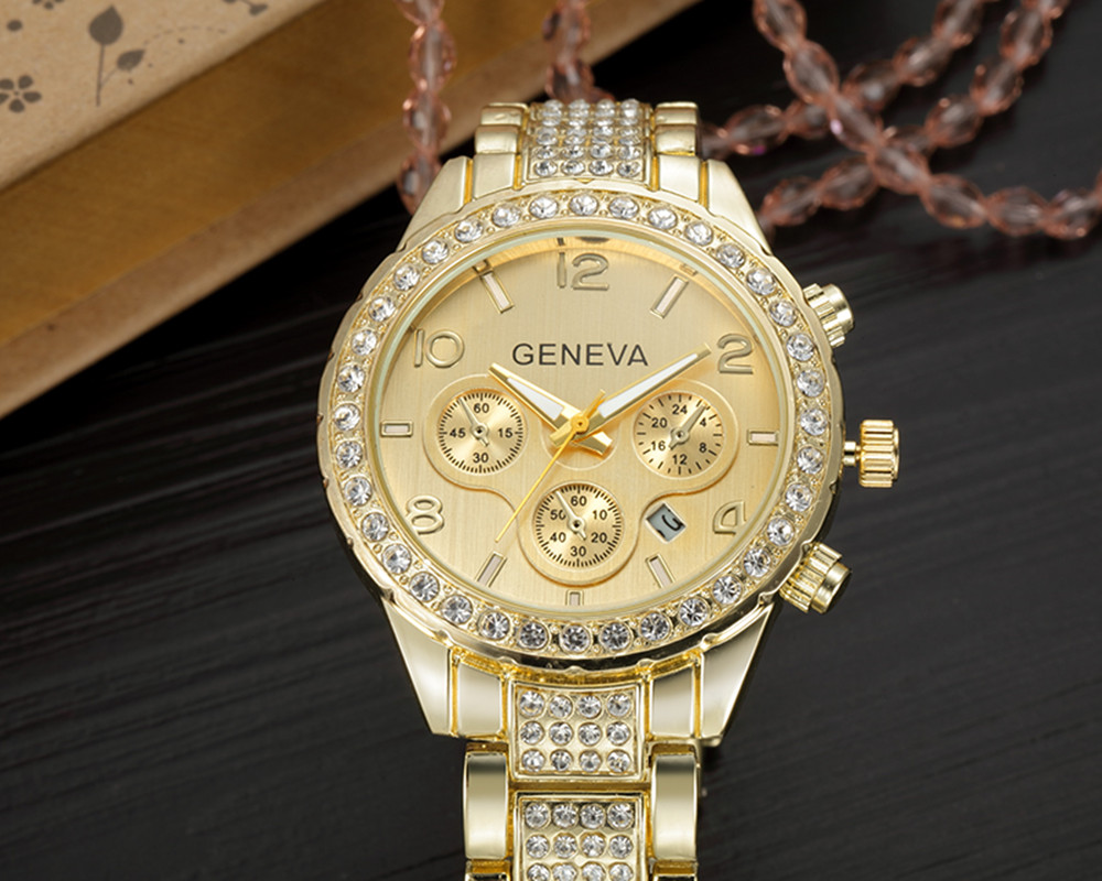 rose bling quartz watch itm gold women roman luxury watches steel crystal stainless wrist