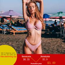 Push Up Bikini Plaid Split Swimsuit Pink Swimwear Women High Waisted Bathing Suits Swimming Suit for Women Beach Swimsuit