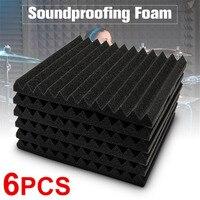6 PCS 30*30*3 cm Schwarz Schalldichte Schwamm Schaum Sound absorbieren Behandlung Mit Für Arbeitsplatz/ industrie-in Dichtleisten aus Heimwerkerbedarf bei