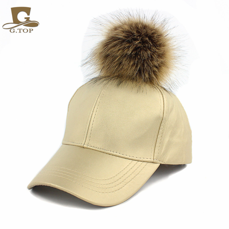 NEW Large faux Fur Pom Pom Baseball Cap Snapback Adjustable Leather Hat-in  Boys Costume Accessories from Novelty   Special Use on Aliexpress.com  56bacfcde18