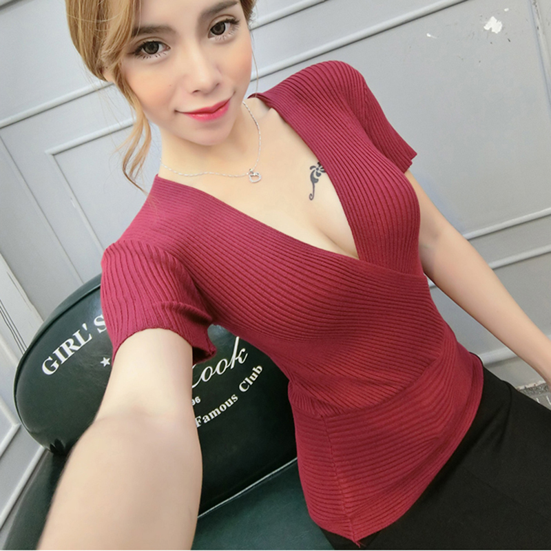 Sexy Slim T Shirt Women Tshirt Deep V-Neck Short Sleeve Striped Knitted Cotton Cross Patchwork Women Poleras De Mujer Moda 2018