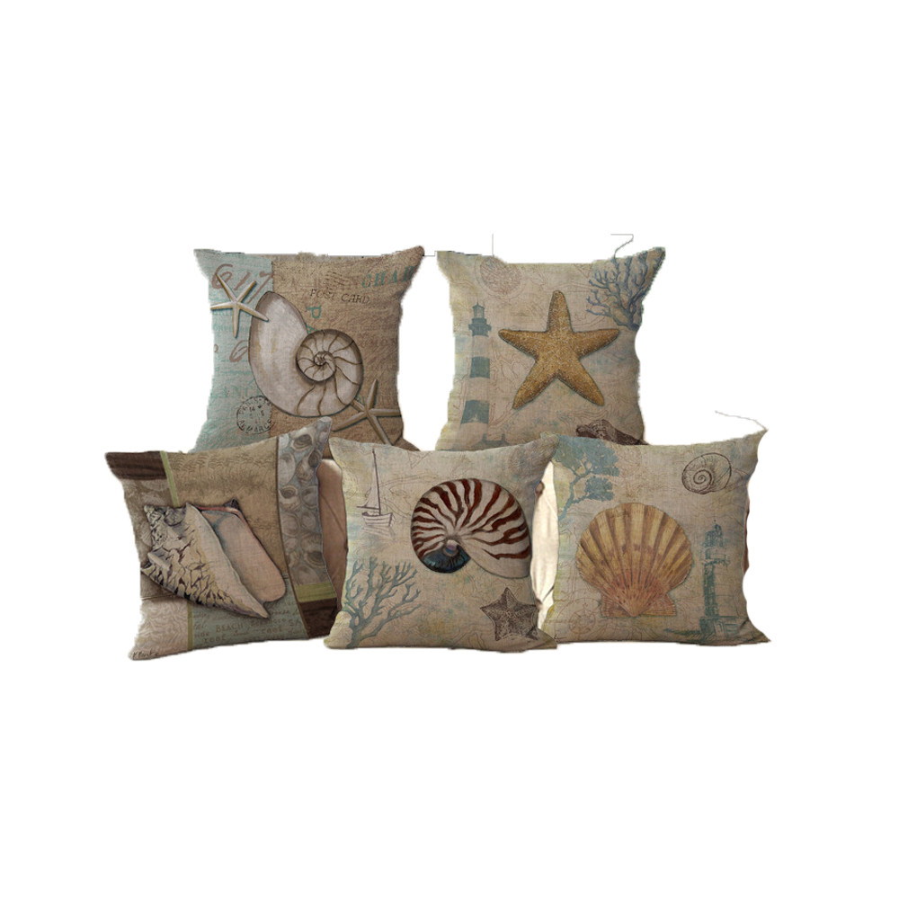 Vintage Style Sea Beach Starfish Conch Shell Square Retro Cushion Cover Throw Pillow Case For Living Room Bedroom Coffee Store Cushion Cover Aliexpress