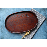 New Creative Japanese Cherry Blossom Hollow Out Solid Wood Tea Set Tray Large Oval Kung Fu Tea Tray Fruit Bowl Elliptic Shape