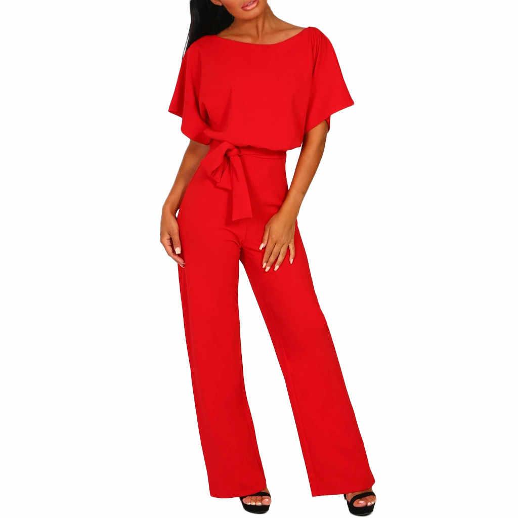 Mamelucos mujer mono elegante Oficina señora fajas suelta recta de manga corta pierna larga Kombinezony Combinaison Femme