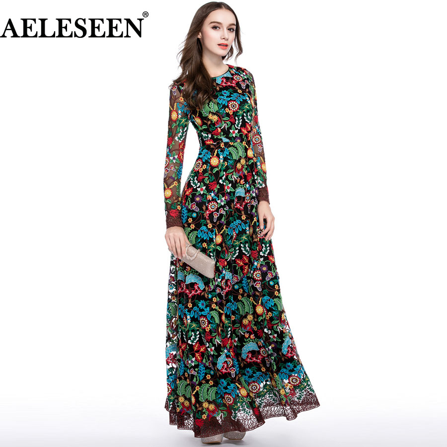 Luxury Long Dresses 2018 Summer Runway Women New Fashion Full Sleeve Flower Embroidery Slim Vintage XXL