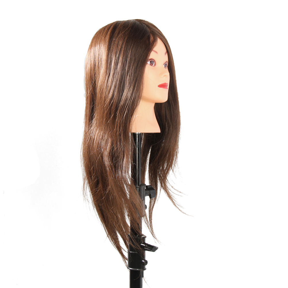 65cm 100% Real Human Hair Profession Hairdressing Training Mannequin Practice Head For Hairdressing Practice Can Be Curled Dyed