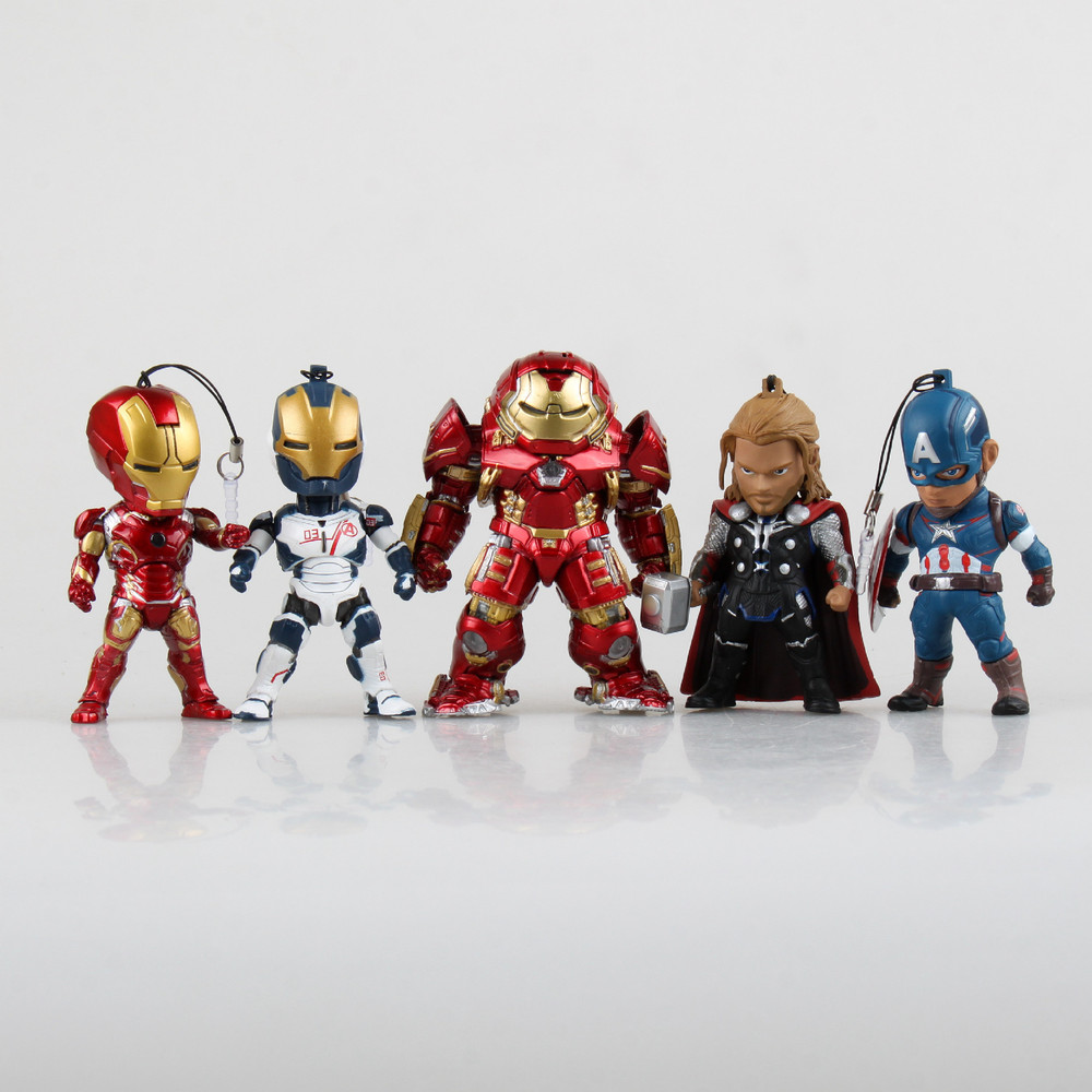 5pcs/set Avengers Light Iron Man Thor Hulkbuster Captain America PVC Action Figures Toys hangar Packaging  gifts Free shipping captain america civil war iron man 618 q version 10cm nendoroid pvc action figures model collectible toys