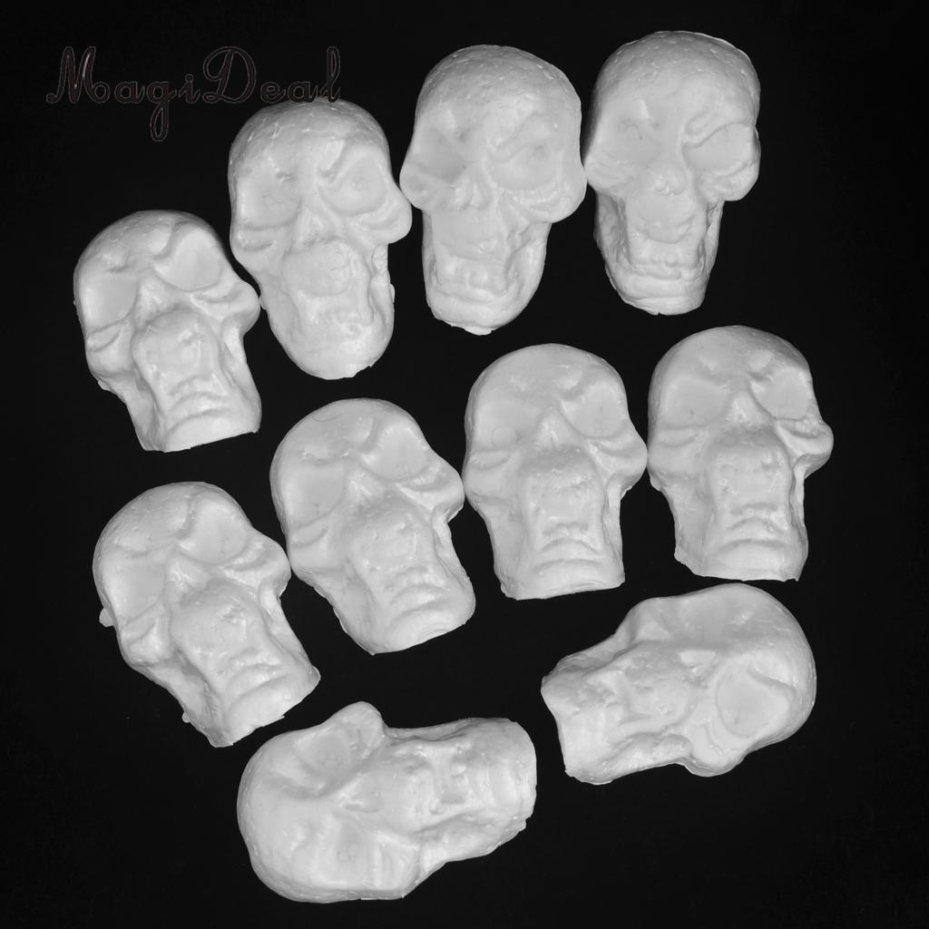 2 x 1.75 x 1.625 inches DIY Decorations for D/ía de Los Muertos Craft Foam Skull and Halloween 24-Pack Polystyrene Foam Skull Model for Arts and Crafts Use White