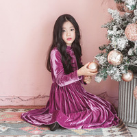Girl Velvet Long Sleeved Autumn Winter Wedding Party Dress 2018 New Year Kids Dress for Teenage Age 4-14 years old