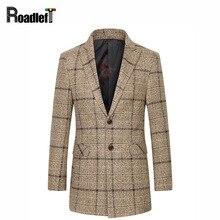 Зимняя мода Мужская шерсть кашемировые пальто ветровка долго траншеи пальто мужчины шерстяные куртка спортивная пальто мандарин куртки