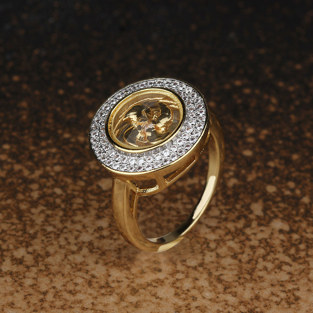 BeUrSelf Copper Rings Rotatable Windmill Zircon Micro Paved Lucky the Middle East 18 Gold Color Finger