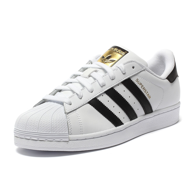 best loved 59a6d 48d66 Original Official Adidas Men s and Women s Superstar Classics Unisex  Skateboarding Shoes Clover serie Gold Label Sneakers C77124-in Skateboarding  from ...