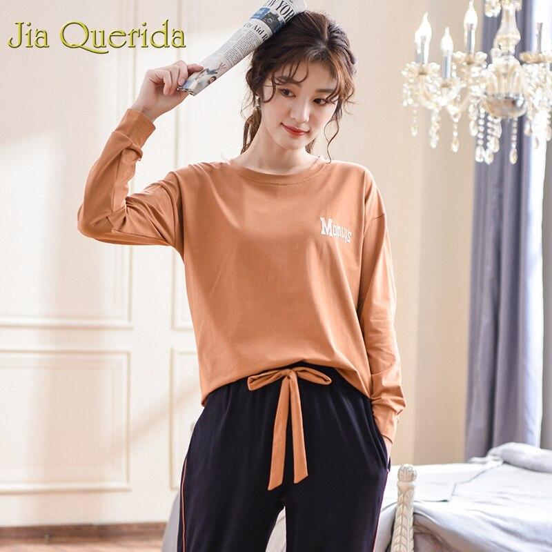 J Q Pyjamas Women 2019 Fashion 100 Cotton Pj Set Caramel Sleep Clothes Drawstring Pants Long