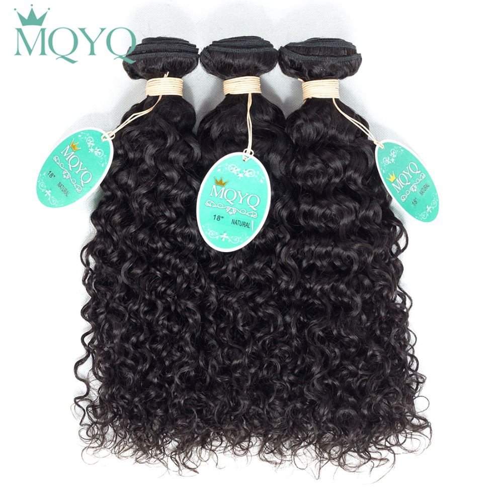 MQYQ Curly Human Hair Extension Natural Black Indian Human Hair Bundles 3PCS/Lot Water Wave Curly Hair Weaving Indian Curly Hair