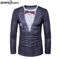 2017 New Men Long Sleeve T Shirt O Neck Male Printing Fake Suit T Shirt 3D