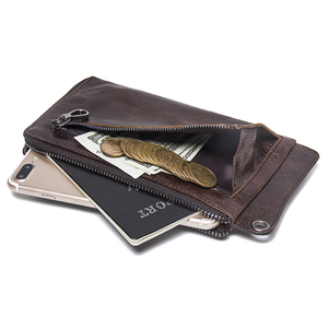 """Image 3 - CONTACTS Mens Wallet Genuine Leather Clutch Man Walet Brand Luxury Male Purse Long Wallets Zip Coin Purse  6.5"""" Phone Pocket"""