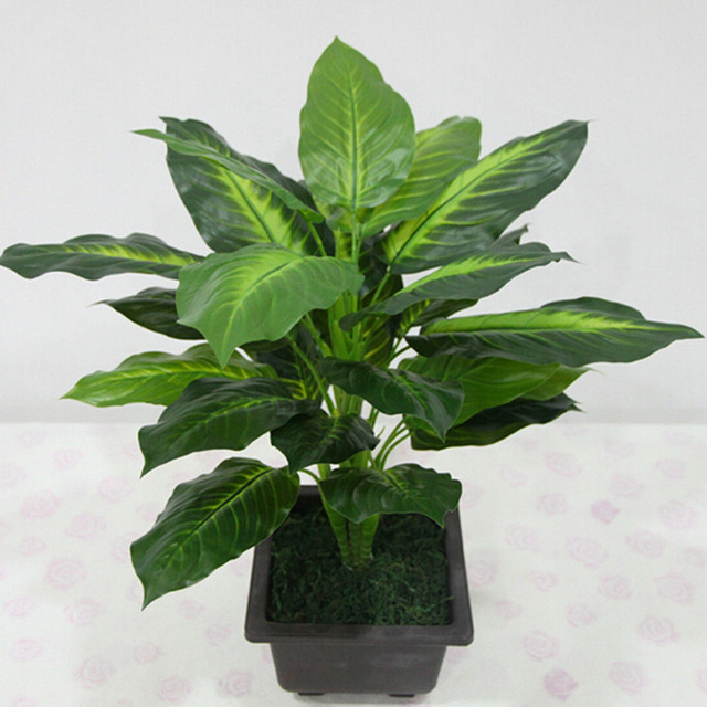 50cm evergreen artificial plant bush potted plants 25 leaves plastic green tree home garden lifelike decoration