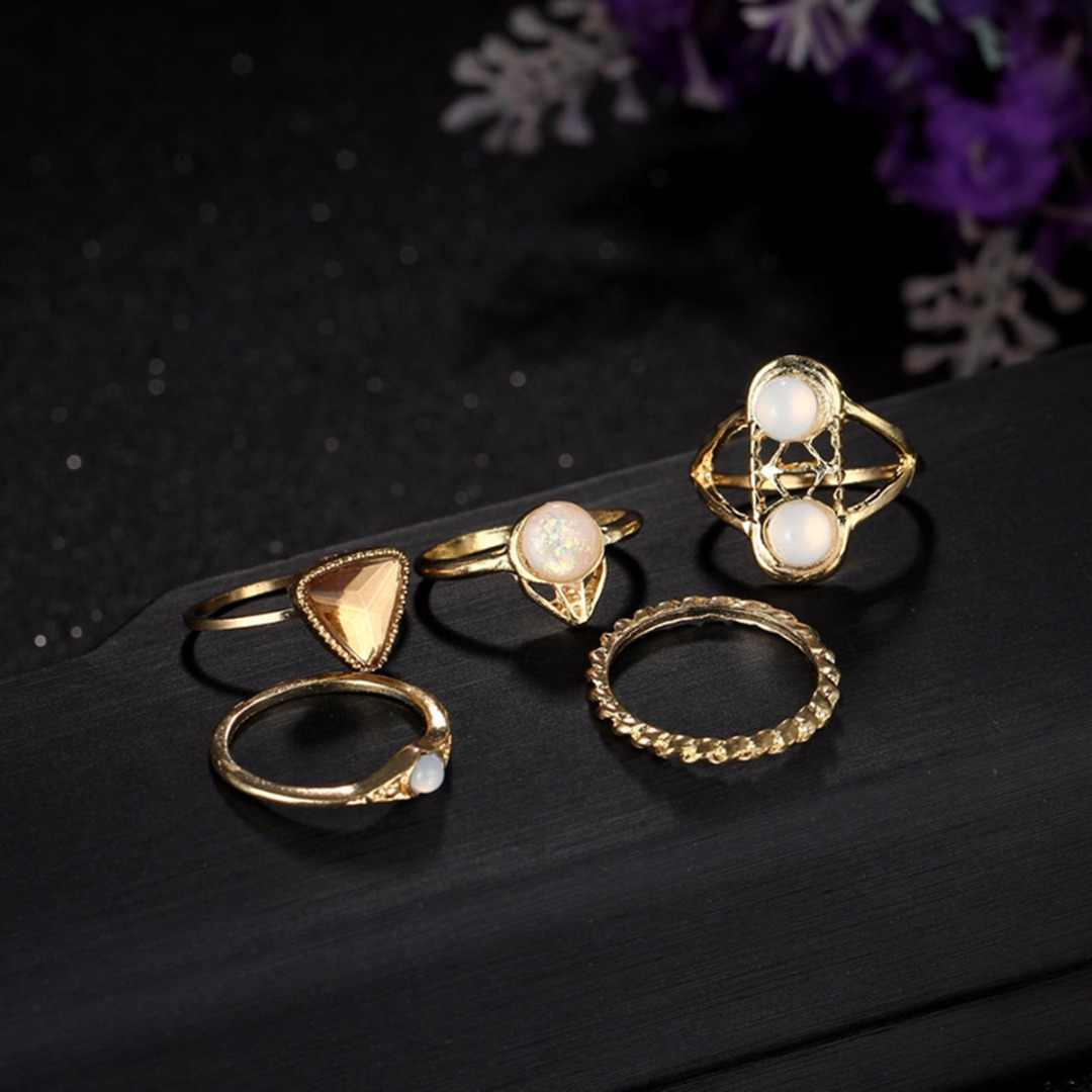 Vintage Gold Color Crystal Pearl Ring Sets Shellhard Women Punk Opal Knuckle Midi Stacking Rings For Women Charms Jewelry 5pcs