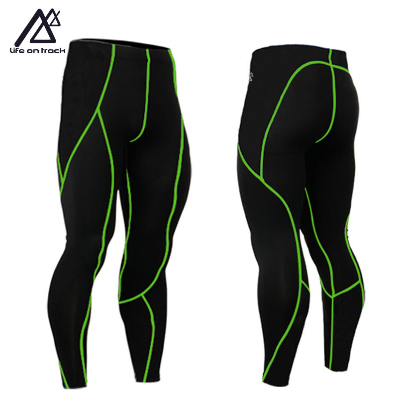 Fitness Compression Apparel Men's Running Tights Anti-Sweat Long Cycling Bottom Green Line Sport Running Pants Leggings Hot Sale