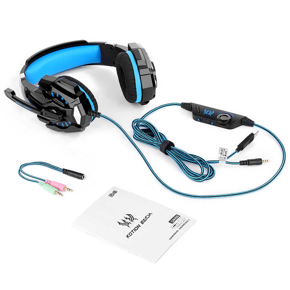 aa8ddbcad9c ... KOTION EACH G9000 Gaming Headphone Headset Earphone 3.5mm Game With Mic  LED Light For Laptop