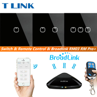 TLINK Broadlink EU Standard Touch Wall Light Touch Screen Switch Black Crystal Glass Switch Panel 1