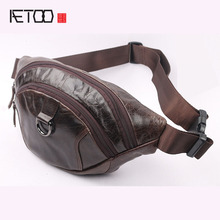 AETOO New men's pockets chest bag leisure fashion small  pocket leather diagonal male package leather chest pack men