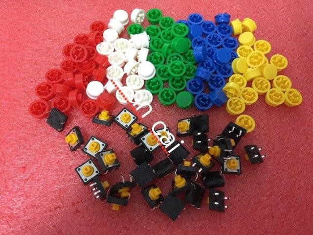 Envío gratuito, 100 unids botón táctil interruptor de tacto momentáneo tapa 12*12 7,3mm Micro interruptor botón